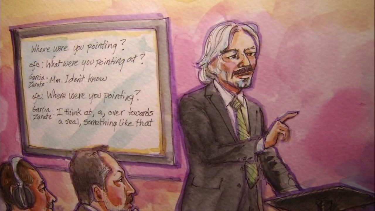 A courtroom sketch shows the precedings in the Kate Steinle murder trial.
