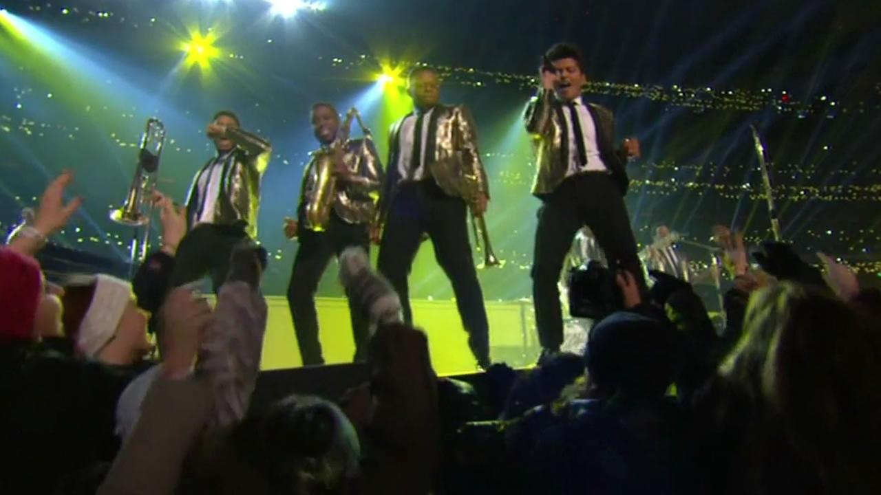 Bruno Mars performing at the Super Bowl halftime show in 2013