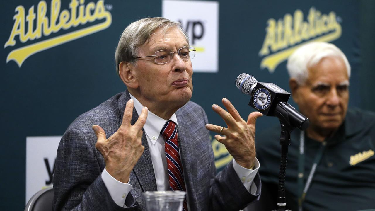 Baseball Commissioner Bud Selig gestures during a news conference prior to a baseball game between the New York Mets and the Oakland Athletics on Tuesday, Aug. 19, 2014.