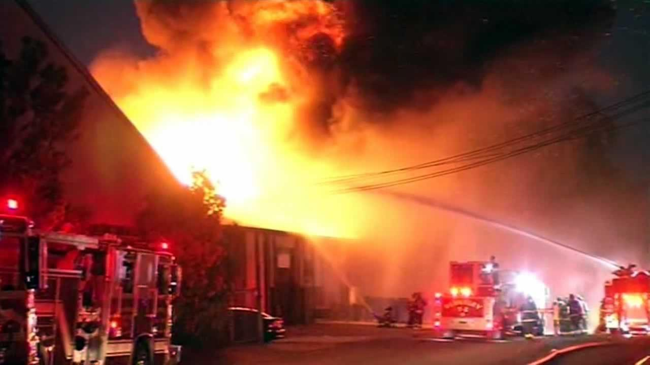 Five-alarm fire burning at 1823 Eastshore Highway in Berkeley, California, April 12, 2014.