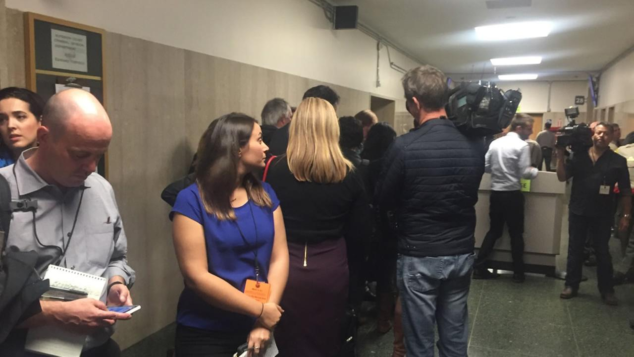 Media waits outside the courtroom for the verdict in the Kate Steinle murder trial on Thursday, Nov. 30, 2017 in San Francisco.KGO-TV