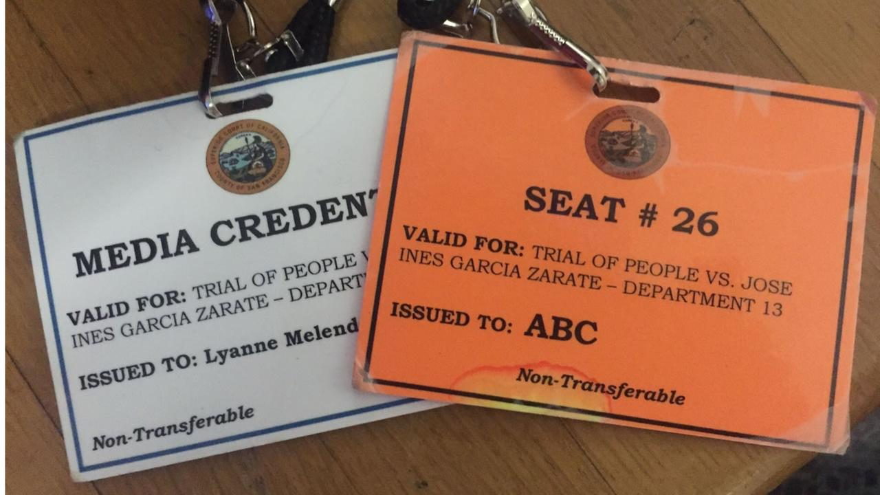 ABC7 News Reporter Lyanne Melendez shared this photo of her media credentials for the Kate Steinle murder trial on Thursday, Nov, 30, 2017.KGO-TV