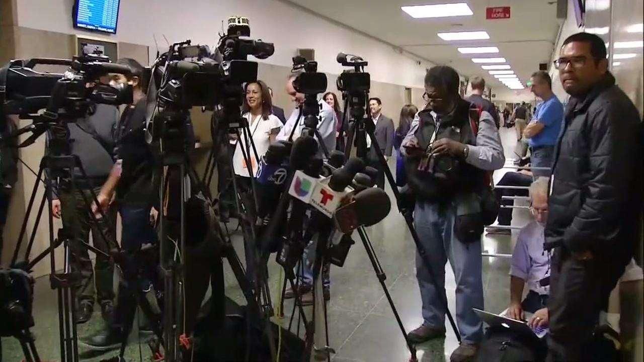 Microphones and cameras are set up outside the San Francisco courtroom after the jury in the Kate Steinle murder trial announced they reached a verdict on Thursday, Nov. 30, 2017.KGO-TV