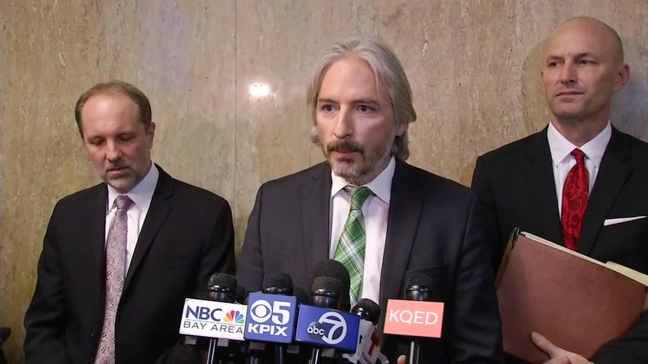 Defense Attorney Matt Gonzalez speaks outside the courtroom after the Kate Steinle verdict was read on Thursday, Nov. 30, 2017 in San Francisco.KGO-TV
