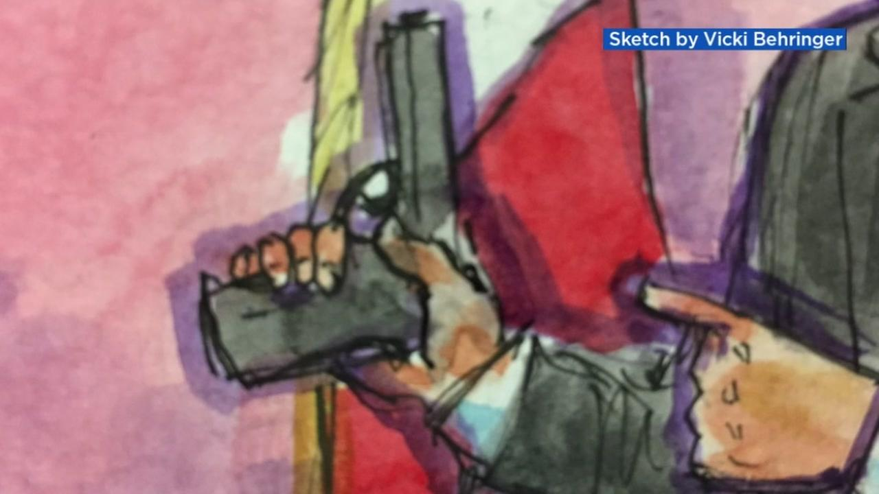 This is a courtroom sketch of the gun used in the Kate Steinle murder at Pier 14 in San Francisco.
