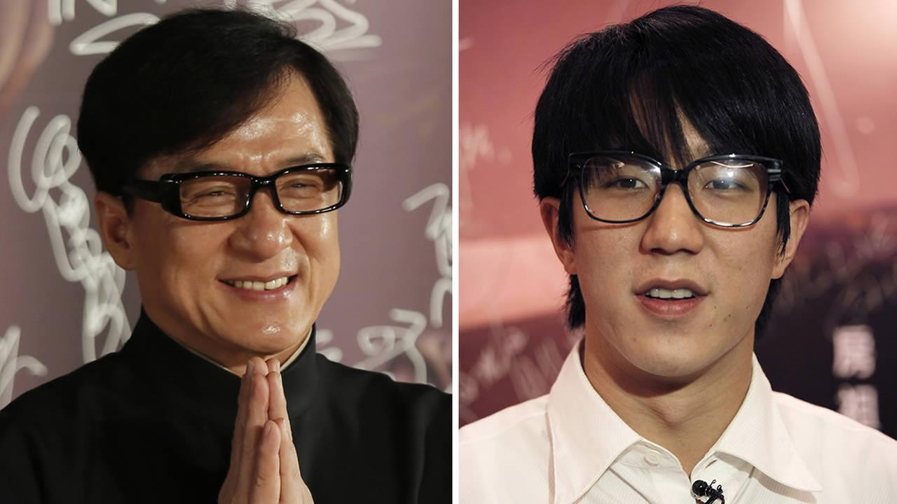 Hong Kong movie star Jackie Chan (left), and his son Jaycee Chan (right). (AP Photo/Vincent Yu)