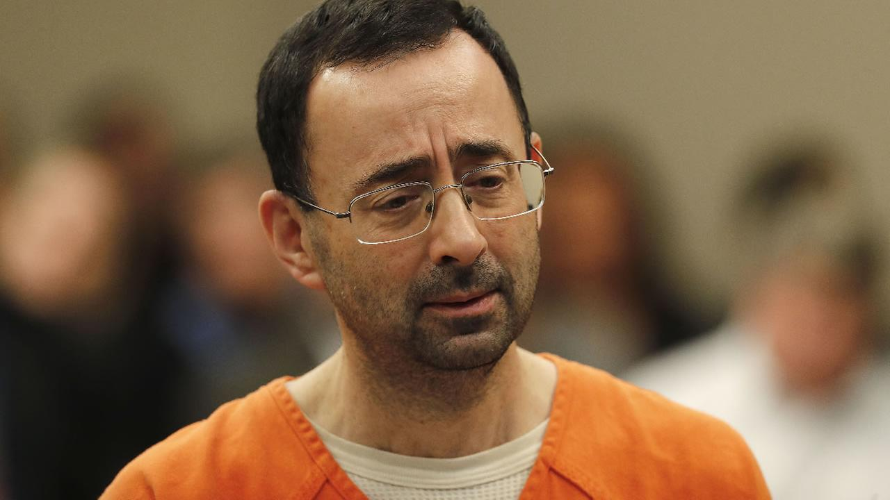 Dr. Larry Nassar appears in court for a plea hearing in Lansing, Mich., Wednesday, Nov. 22, 2017. (AP Photo/Paul Sancya)