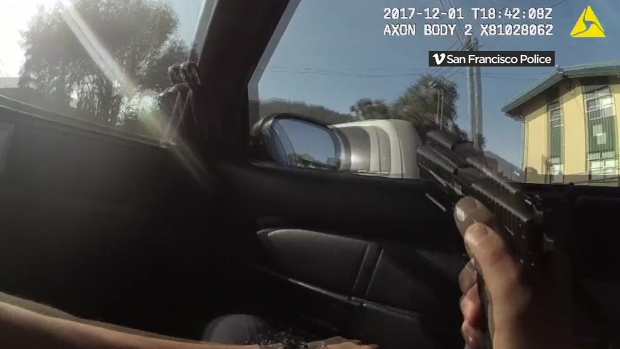 This is an image from police body camera video showing an officer-involved shooting in San Francisco.