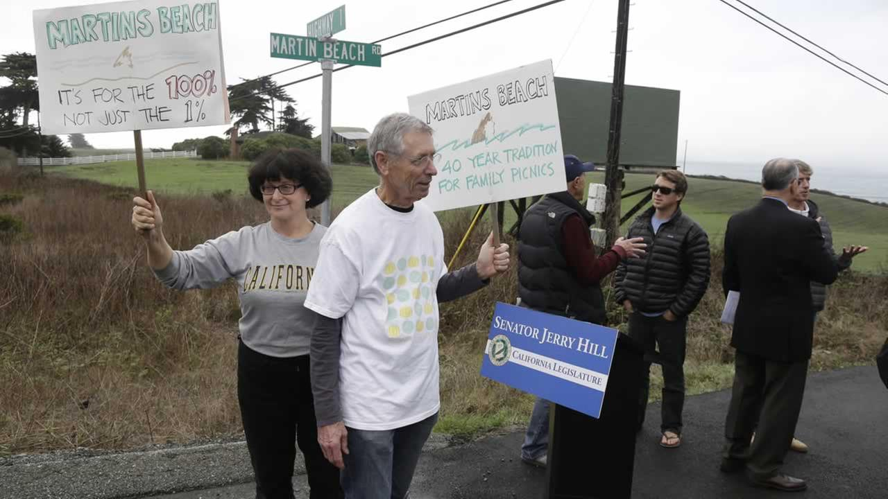 Protesters picketing blocking of access road to Martins Beach