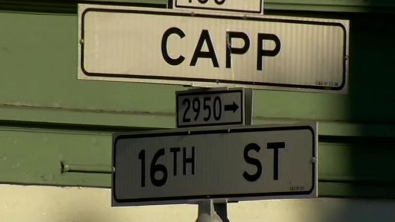 Street sign that reads 16th and Capp in the Mission District