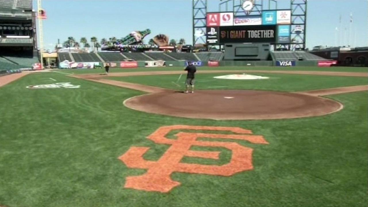 Final preparations are underway at AT&T Park for the San Francisco Giants home opener.