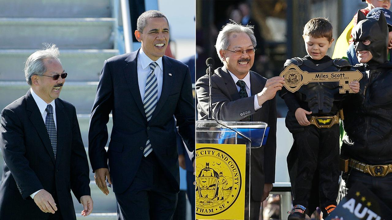 Ed Lee with President Barack Obama in 2011 (left) and with Batkid in 2013 (right).