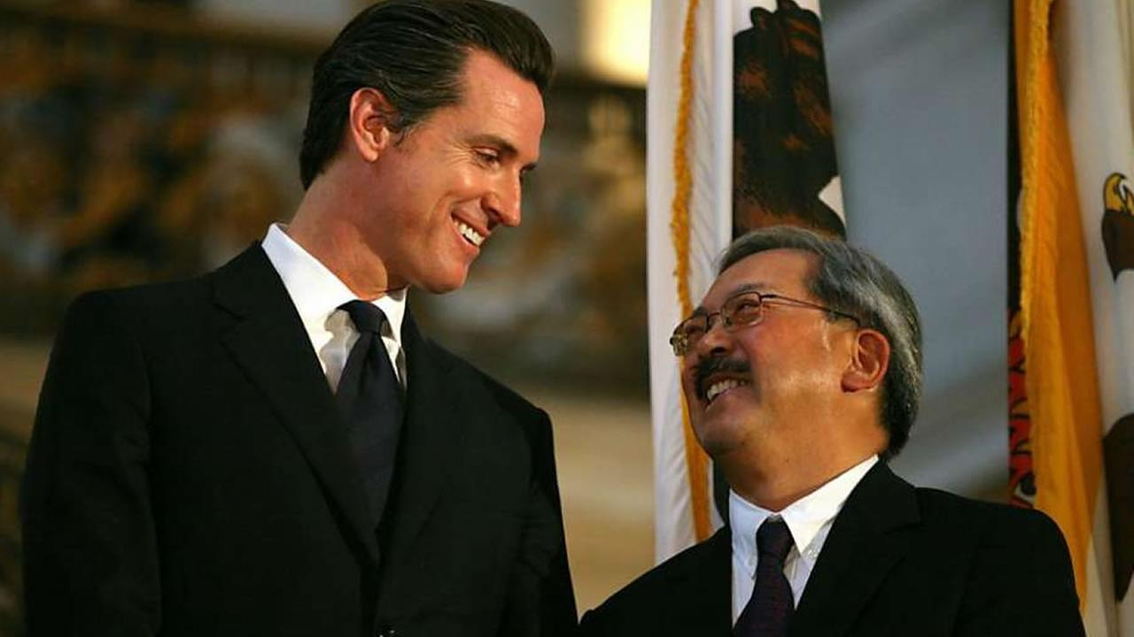 This undated image shows Lt. Governor Gavin Newsom and San Francisco Mayor Ed Lee.