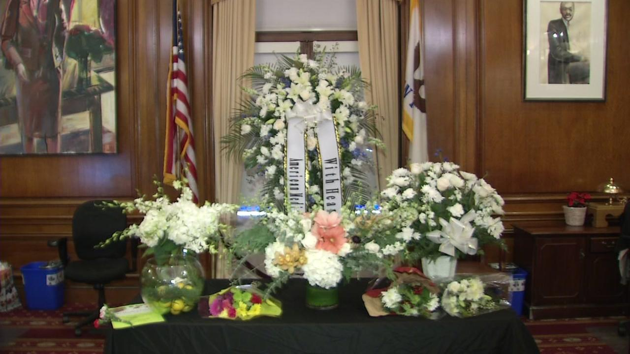 A memorial in San Francisco City Hall for late Mayor Ed Lee appears on Tuesday, Dec. 12, 2017.
