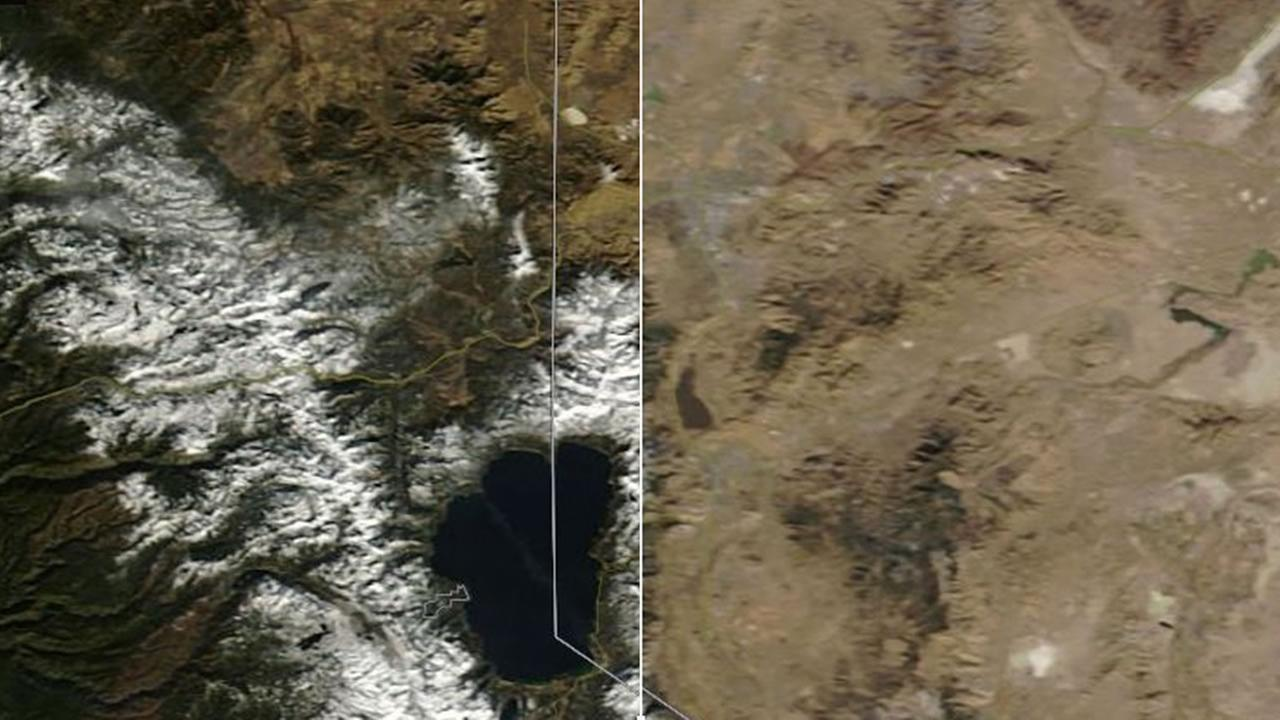 This map from NASA shows comparisons between the snowpack from Dec. 2016 (right) and Dec. 2017 (left.)