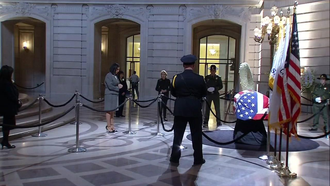 Acting Mayor London Breed pays respects at public viewing for Ed Lee at San Francisco City Hall, Friday, December 15, 2017.
