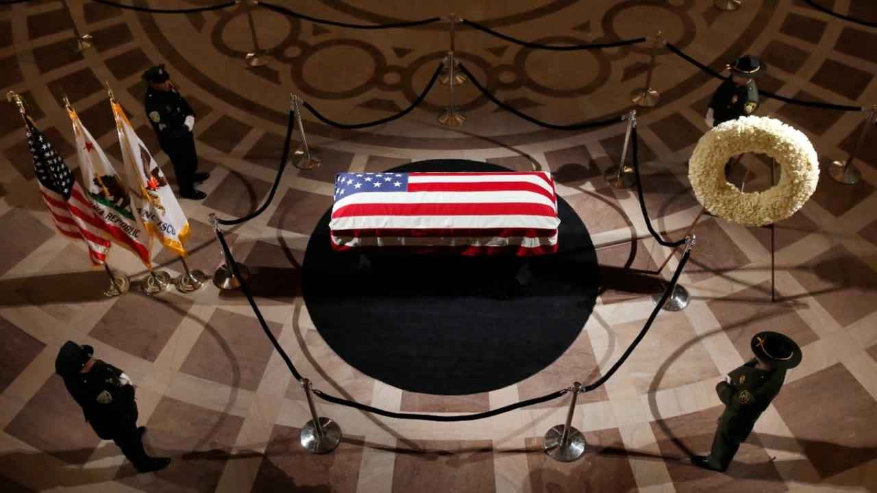 The casket holding the body of late San Francisco Mayor Ed Lee is on display at City Hall on Friday, Dec. 15, 2017.