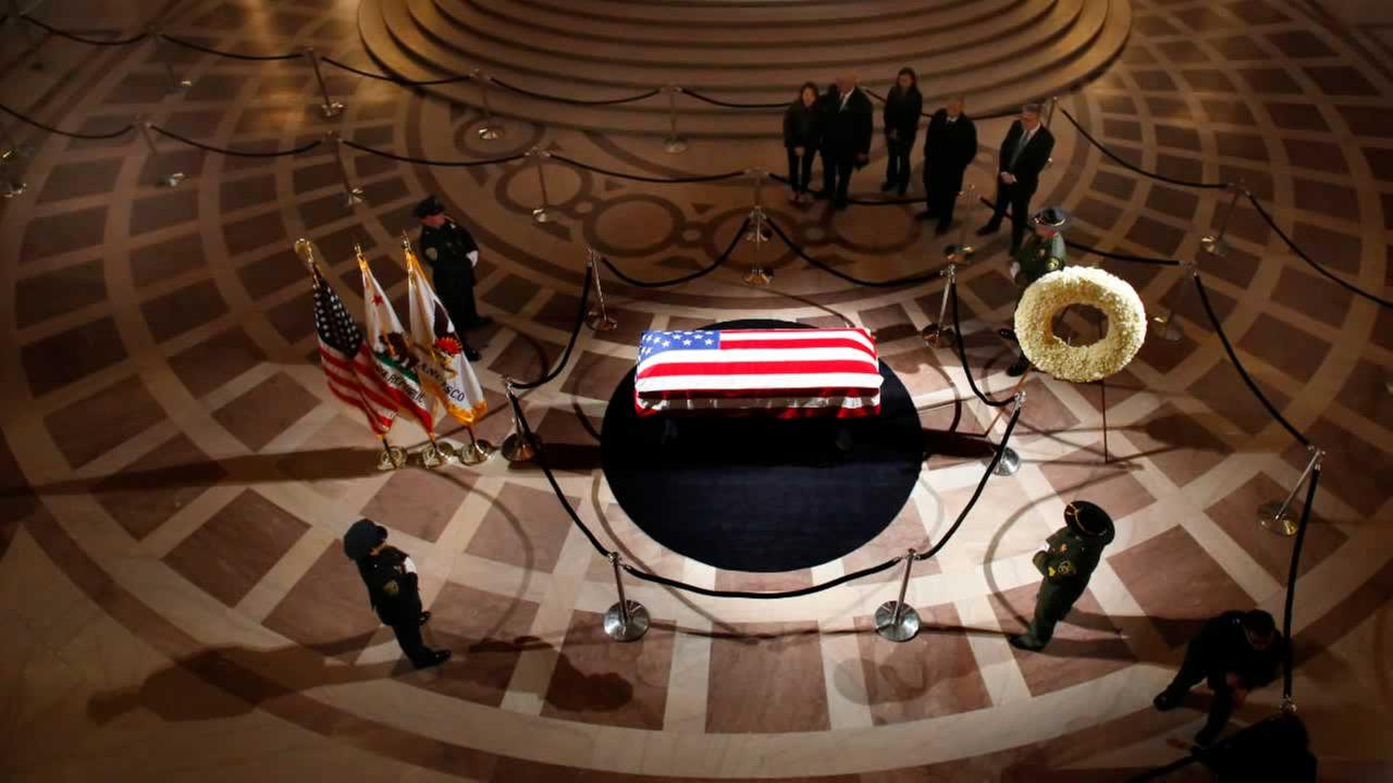 The casket holding the body of late San Francisco Mayor Ed Lee is on display at City Hall on Friday, Dec. 15, 2017.Michael Macor / The San Francisco Chronicle