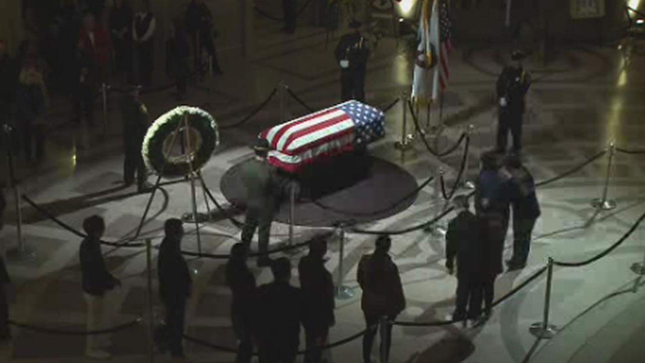 This is an image of the public view of Mayor Ed Lees casket at City Hall in San Francisco, Calif on Friday, Dec. 16, 2017.