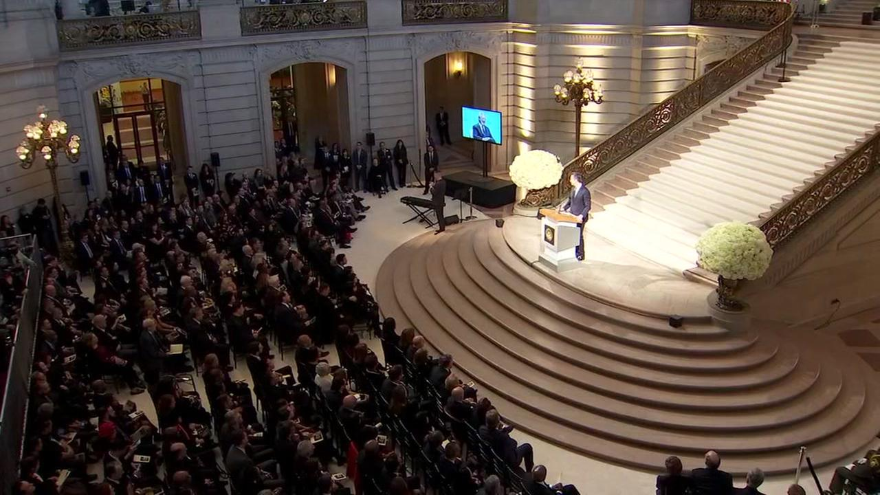 This is an image from inside the memorial held in honor of the late San Francisco Mayor Ed Lee on Dec. 17, 2017.