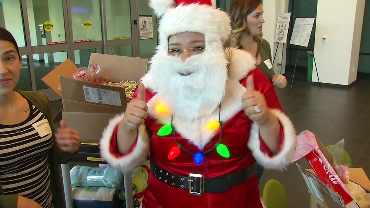One of the heart moms spreads holiday cheer to children facing the holidays at UC Benioff Childrens Hospital in San Francisco on Monday, Dec. 18, 2017.