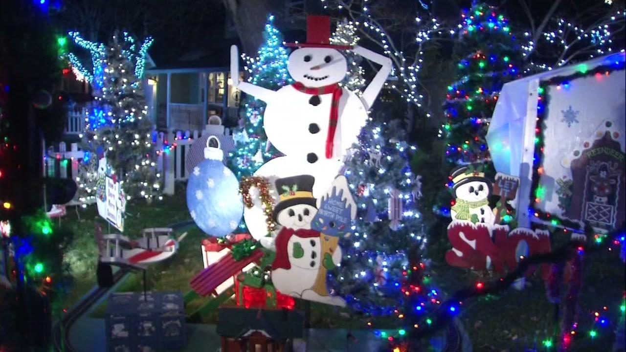 Christmas decorations appear in the Marinwood neighborhood at a legendary home in Marin, Calif. on Monday, Dec. 18, 2017.