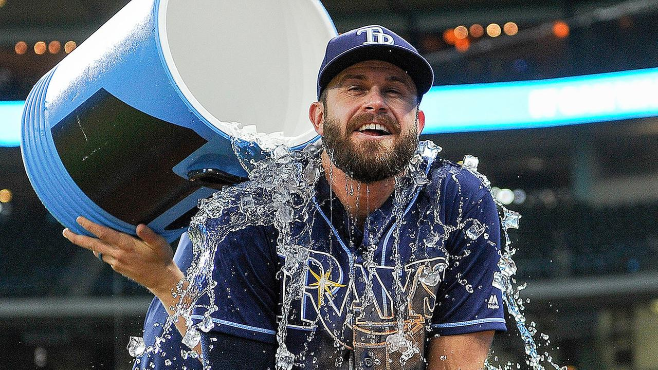 Tampa Bay Rays Evan Longoria is doused with liquid by Steven Souza Jr. after the teams 6-4 win over the Houston Astros, Tuesday, Aug. 1, 2017, in Houston.