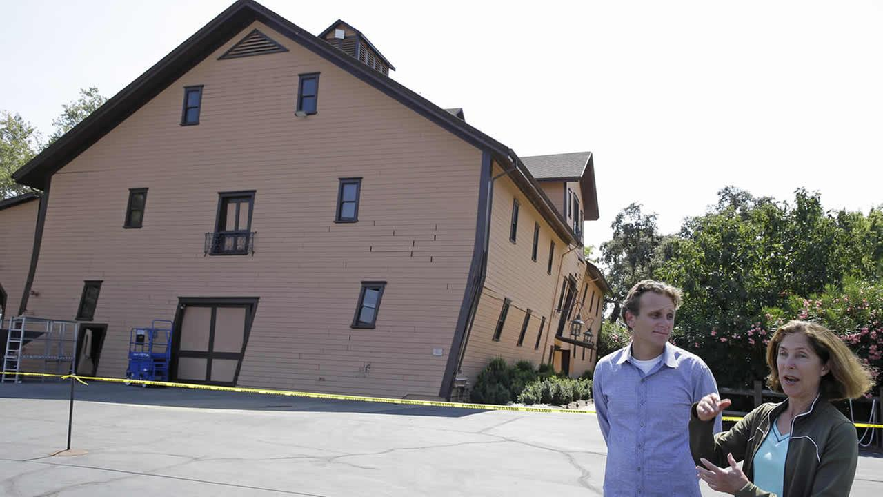 Owner Janet Trefethen, right, and president Jon Ruel, left, talk about the quake damage to the historic winery building at Trefethen Family Vineyards Aug. 25, 2014, in Napa, Calif. (AP Photo/Eric Risberg) <span class=meta>(AP Photo&#47;Eric Risberg)</span>