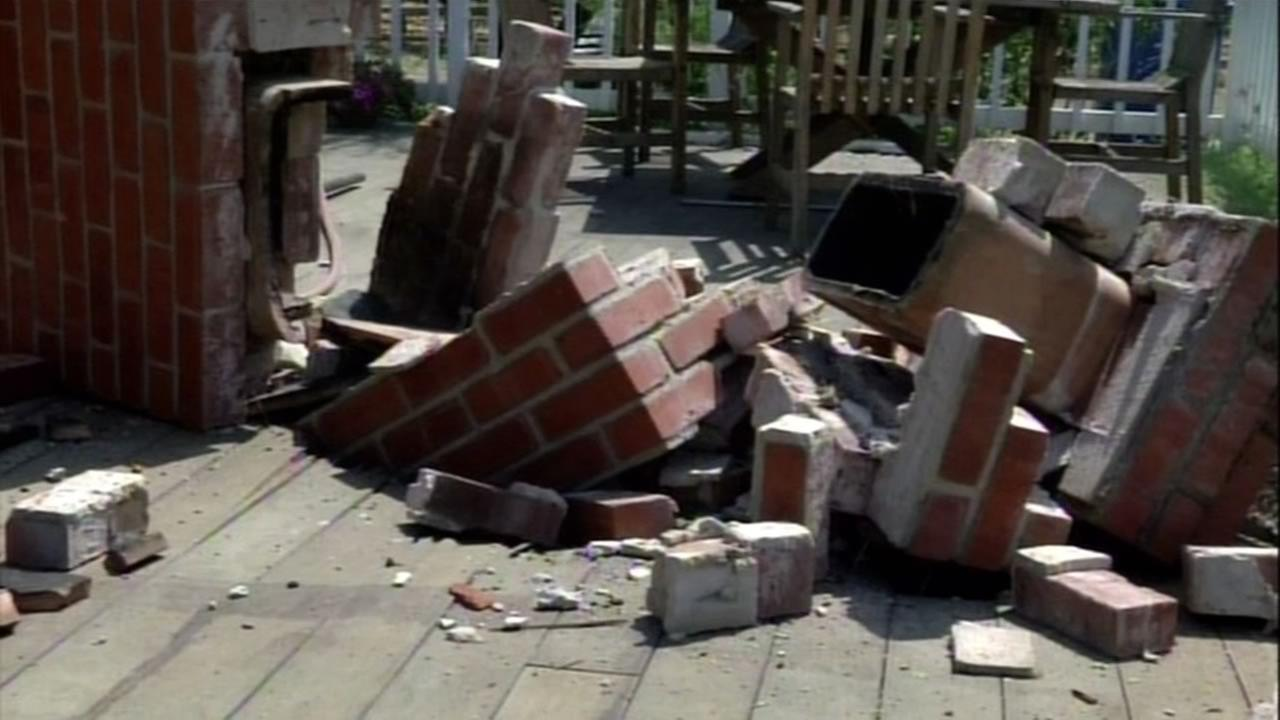 Quake causes fireplace to fall at Napa home, Monday August 25, 2014.