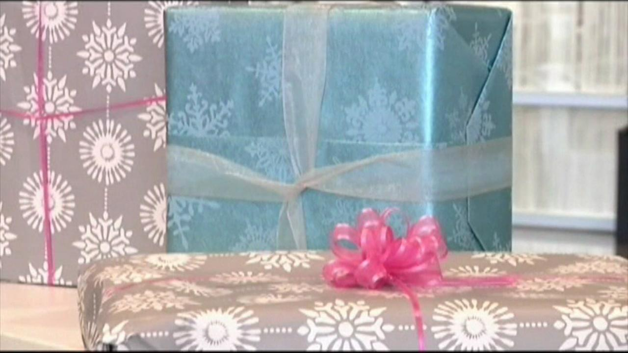 This is an undated image of wrapped Christmas gifts.
