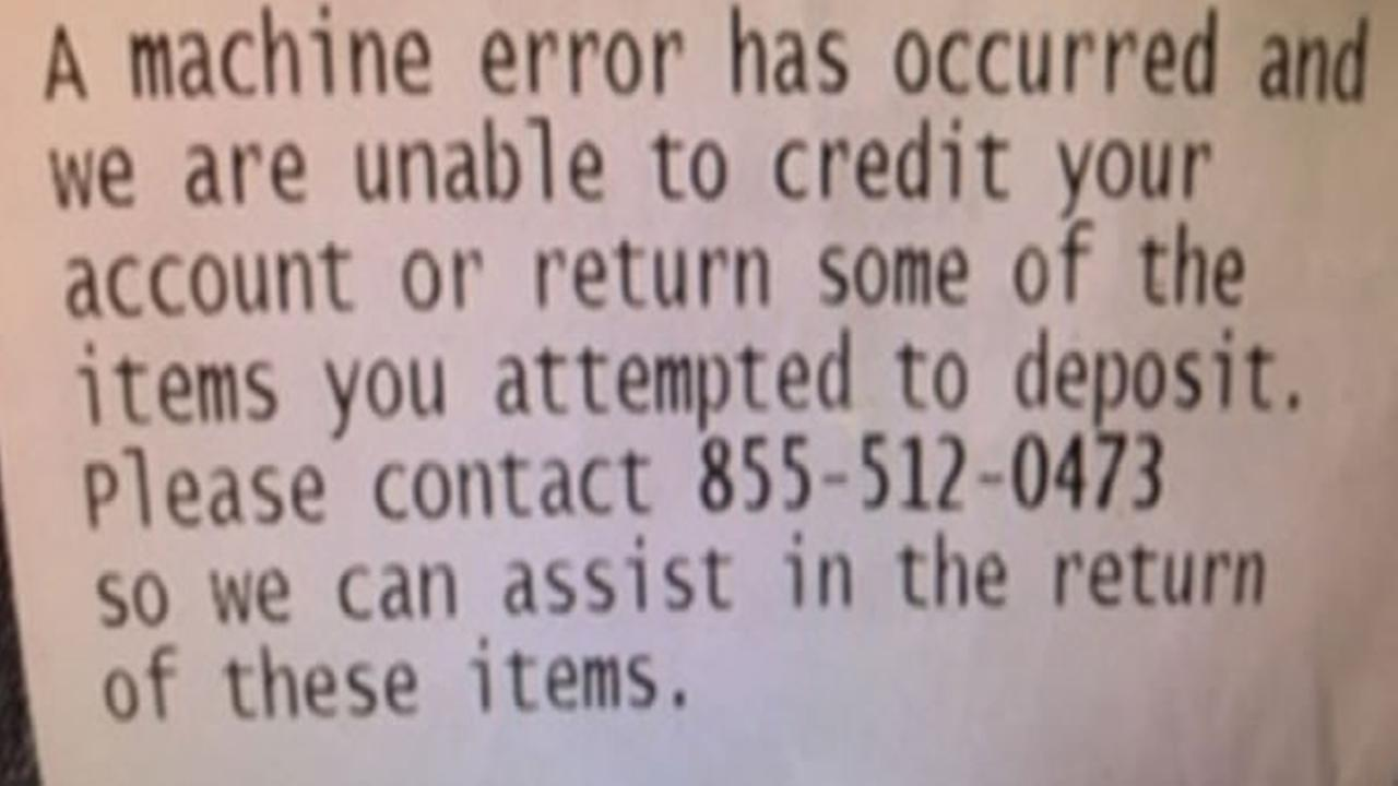 Fairfield resident Michelle Caldwell shared this receipt she received at an ATM.