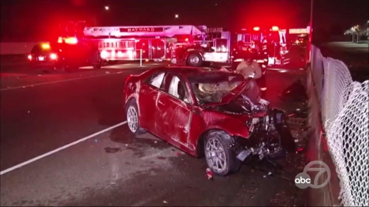 The suspect vehicle in a fatal DUI crash in Hayward, Calif. appears on Sunday, Dec. 24, 2017.
