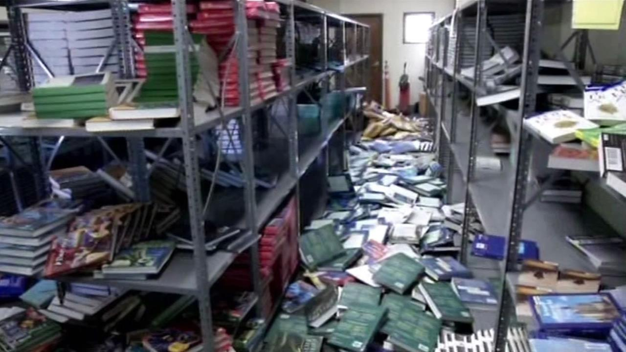 Textbooks fell to the floor after Sundays earthquake.