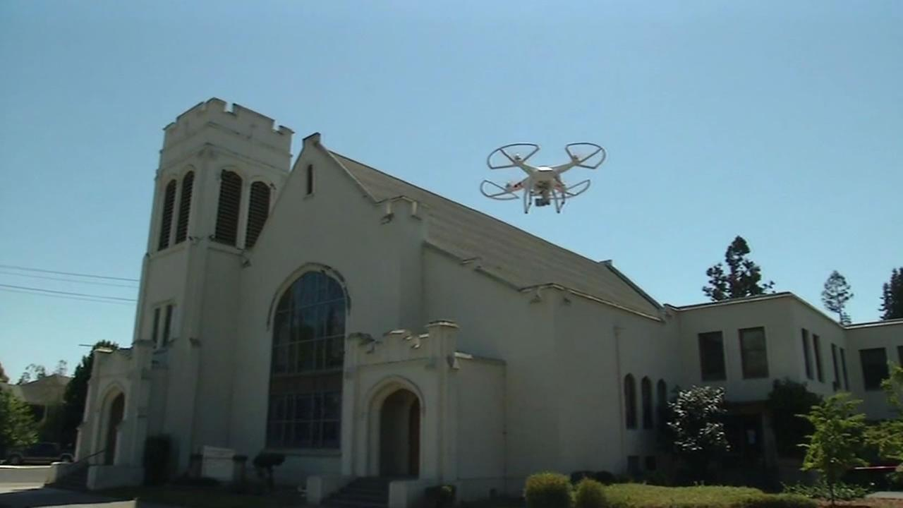A drone captures images overhead the First Methodist Church in Napa.