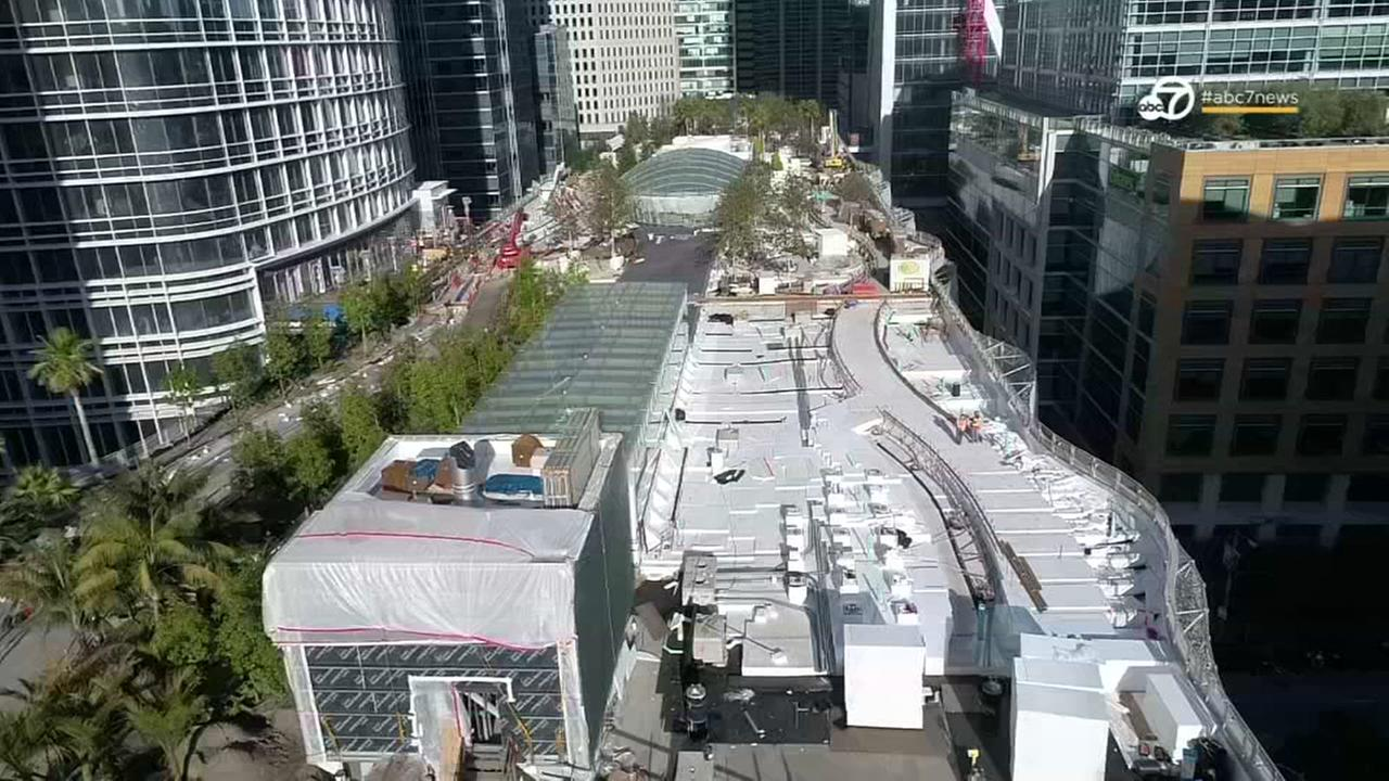 This is an undated aerial image of the Salesforce Transit Center in San Francisco.