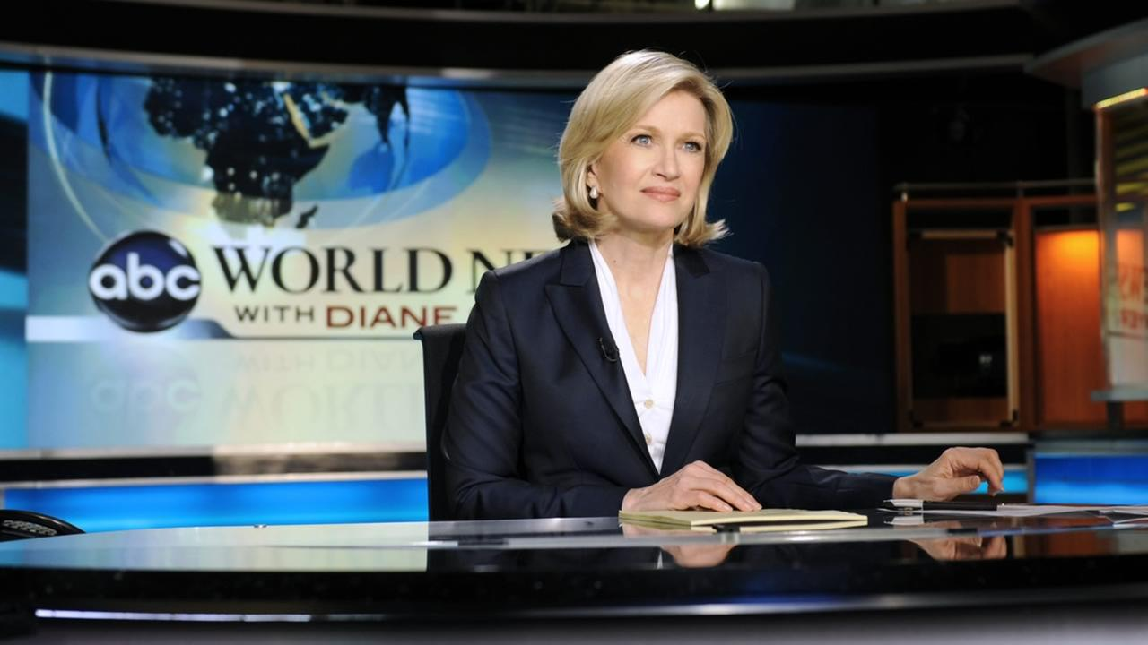 ABC World News anchor Diane Sawyer tapes a news brief before her live evening broadcast from New York on Monday, Dec. 21, 2009. (AP Photo/ABC, Ida Mae Astute)