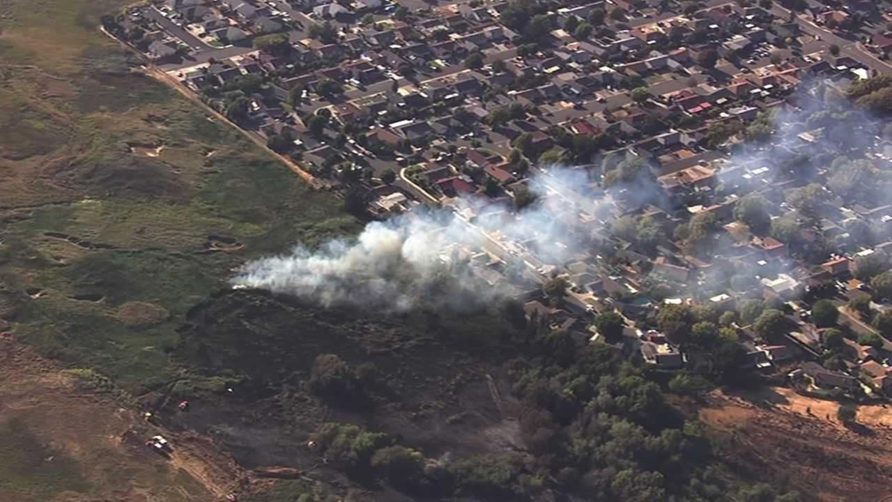A fire burning in Vallejo is threatening about 10 homes on Sonora Pass Road.