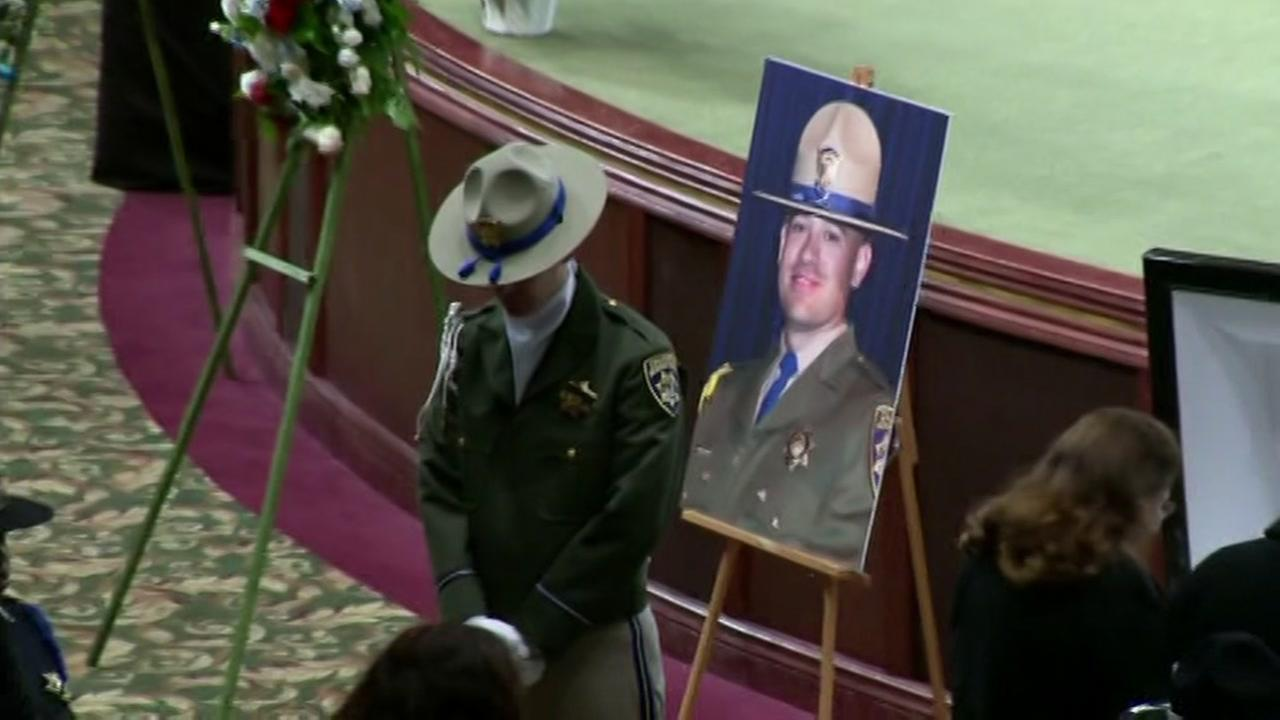 This is an image from the memorial service for CHP Officer Andrew Camilleri held on December 30, 2017. KGO-TV