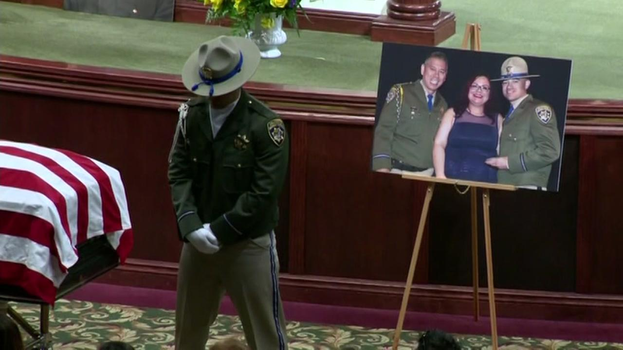 This is an image from the memorial service for CHP Officer Andrew Camilleri held on December 30, 2017.