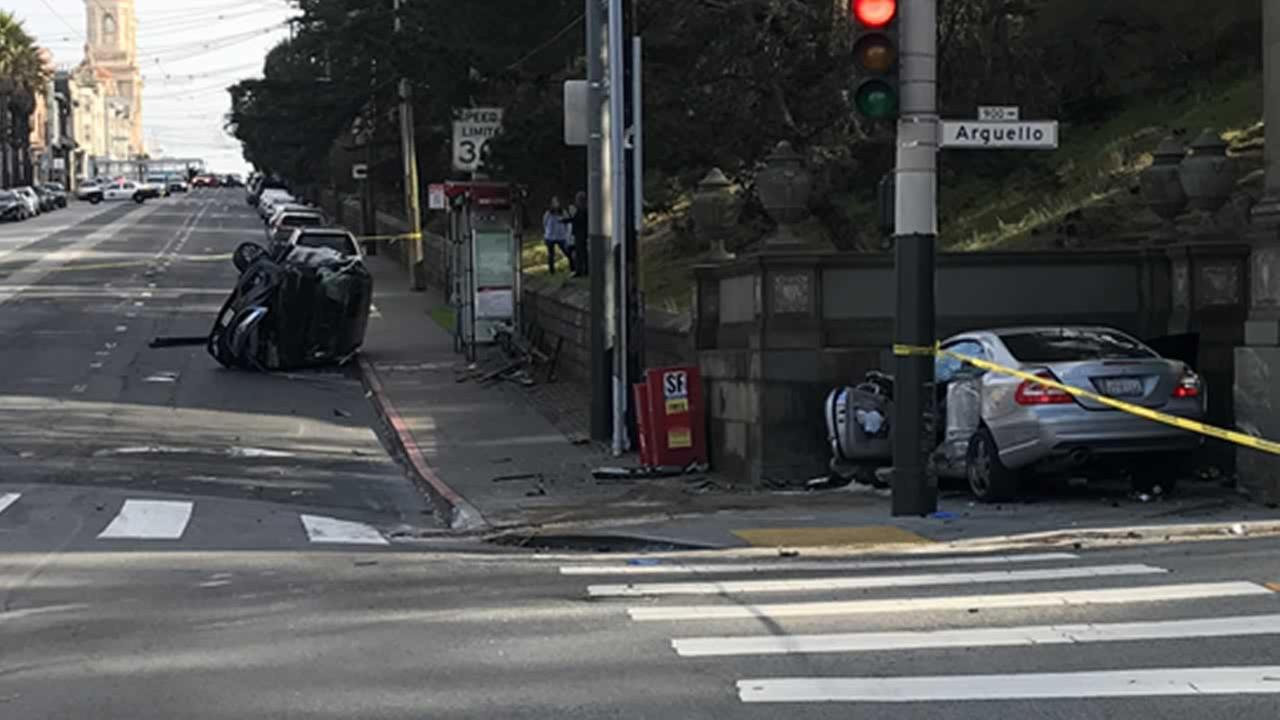 This is an image of a car accident in San Francisco, Calif. on Saturday, December 30, 2017.