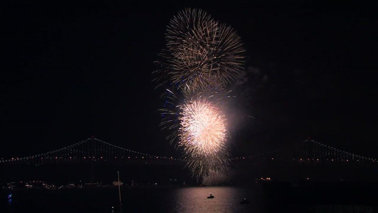Fireworks are seen over San Francisco Bay in this undated image.