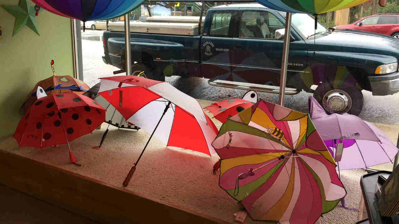 Umbrellas are seen in a storefront window in this undated image.