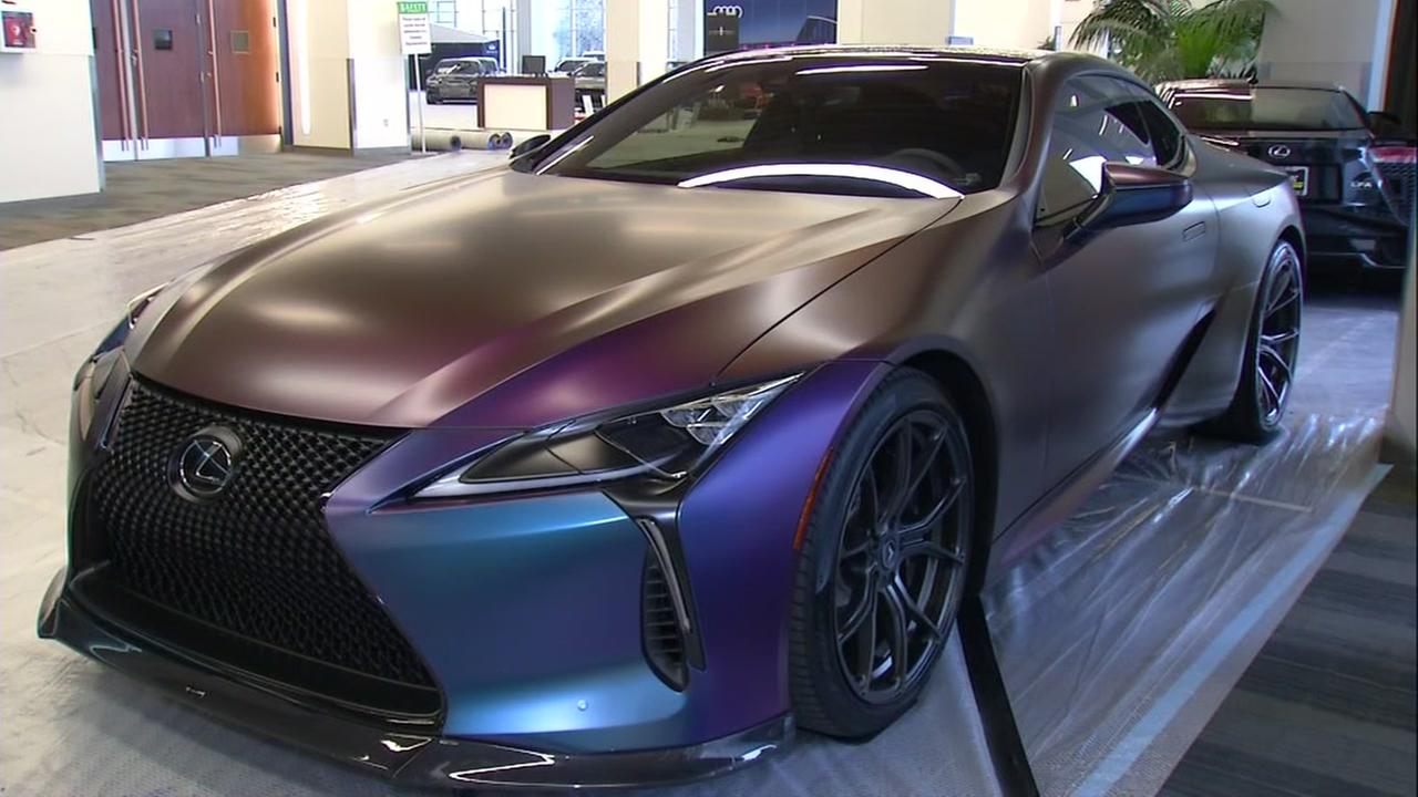A new car with a flashy paint job appears in San Jose, Calif. at the Silicon Valley Auto Show on Wednesday, Jan. 3, 2017.