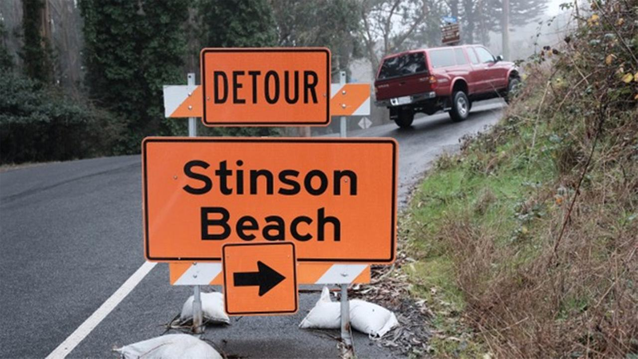 FILE -- Detour on Hwy 1 to Stinson Beach, California.