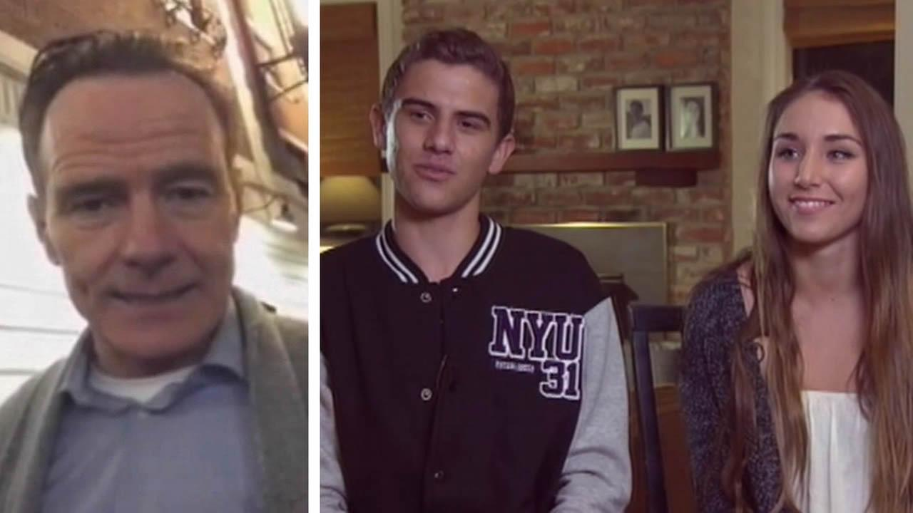 Breaking Bad actor Bryan Cranston, Stefan Montana and Maddie Abene