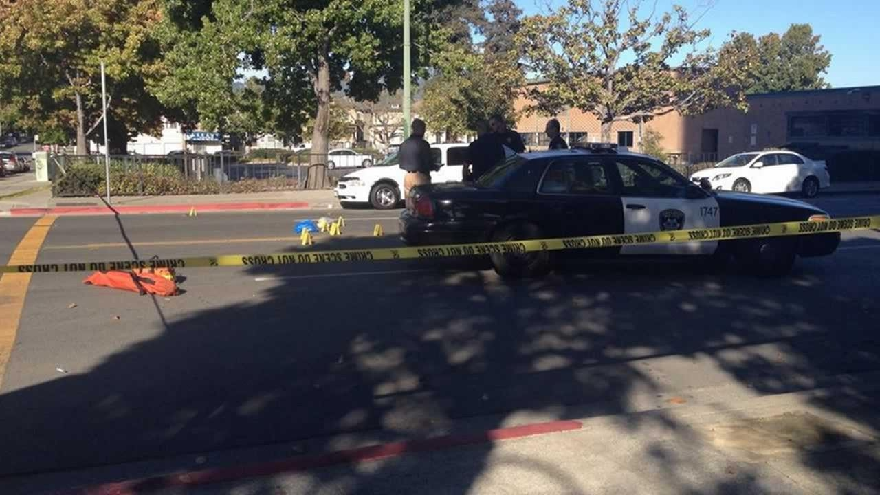 An Oakland police car hit a pedestrian at the intersection of 3rd Avenue and E.12th Street.