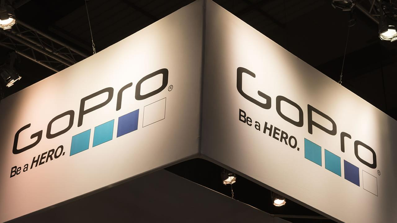 A GoPro stand is seen at EICMA in Milan, Italy on Nov. 8, 2016.