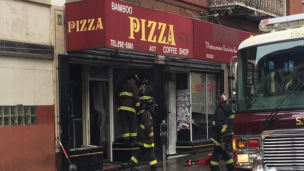 A San Francisco firefighter suffered a sprained ankle while battling a fire in a pizza shop on Ellis Street.