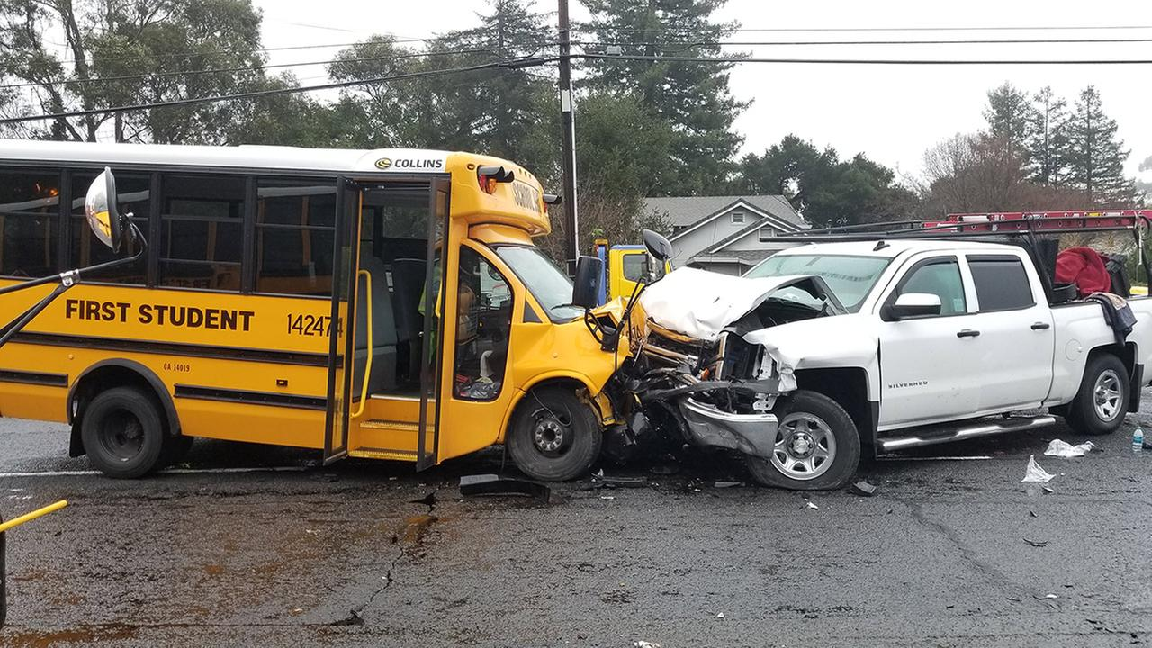 Truck and school bus crash in El Sobrante, California, Tuesday, January 9, 2018.