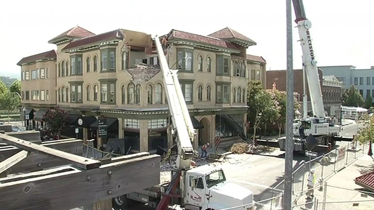 Workers begin rebuilding Downtown Napa.